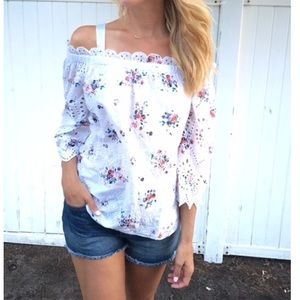 Ann Taylor Floral Eyelet Top, Small
